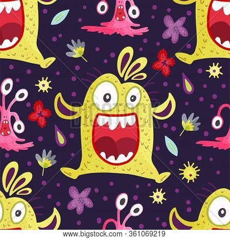 Cute Cartoon Happy Monster Vector Seamless Pattern In A Flat Style. Funny Kid Alien Character Backgr