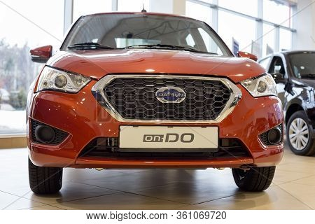 Russia, Izhevsk - March 19, 2020: New Modern On-do Car In The Datsun Showroom. Front View.