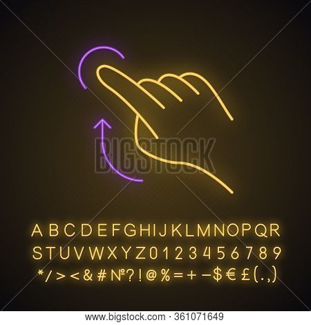 Flick Up Gesture Neon Light Icon. Touchscreen Gesturing. Human Hand And Fingers. Tap, Point, Click.