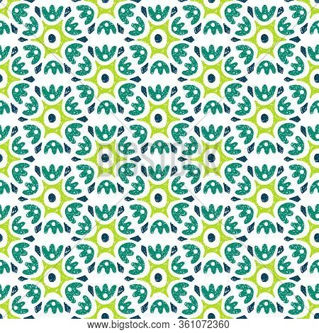 Seamless Green And White Floral Pattern. Ornament Drawn In Pencil On Paper. Bohemian Summer Patchwor