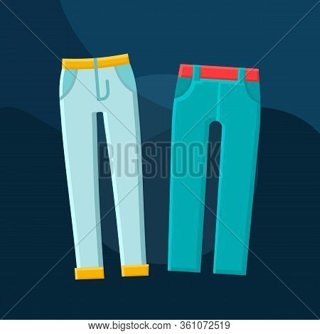 Trousers Flat Concept Vector Icon. Mens Fashion Idea Cartoon Color Illustrations Set. Clothing Store