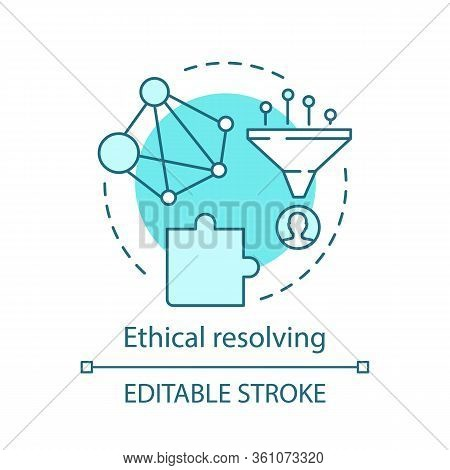 Ethical Resolving Concept Icon. Moral Dilemma Idea Thin Line Illustration. Code Of Ethics. Moral Iss