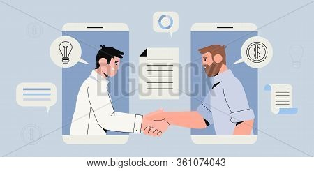 Two Businessman Settle Contract With Signing Up Contract And Handshake. New Profitable Project Start