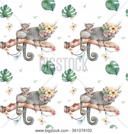 Baby Mouse Lemur Pattern. Hand Drawn Cute Watercolor Cartoon Mouse Lemur On Tree With Jungle Leaves