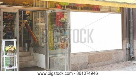 Huge Information Banner With Mock-up For Design On Shop Window Of Floral Store