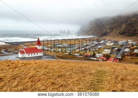Church Myrdal, Vik Village, Winter In Iceland, Storm Southern Iceland