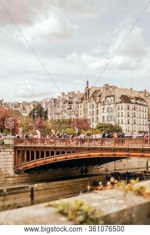 Paris, France - April 6, 2019: Beautiful View On Pont Au Double From Ile De La Cite.