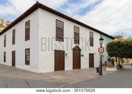 Main Facade Of A Typical Building In San Sebastian De La Gomera. April 15, 2019. La Gomera, Santa Cr