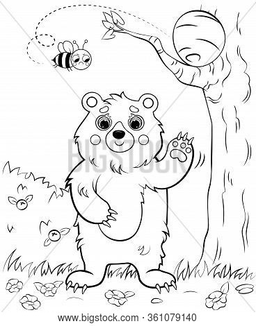 Coloring Page Outline Of A Waving Cartoon Bear With Bee's Nest. Vector Image With Nature Background.