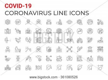 Coronavirus Covid-19 Pandemic Respiratory Pneumonia Disease Related Icons Set Line Style. Included I