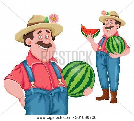 Farmer Cartoon Character. Cheerful Farmer Holding Big Watermelon, Set Of Two Poses. Stock Vector