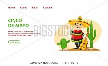 Cinco De Mayo Greeting Card With Cheerful Mexican Man In Sombrero Holding Guitar. Funny Cartoon Char