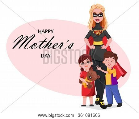 Beautiful Woman In Superhero Costume With Her Kids