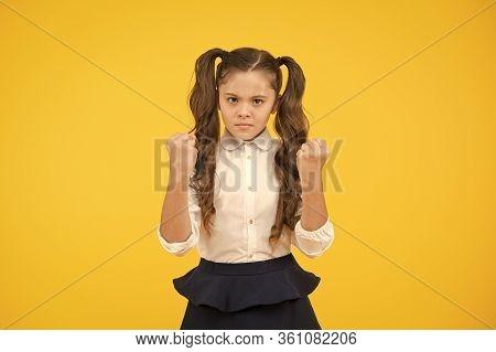 Angry Kid. Adorable Schoolgirl. Schoolgirl Pupil Long Hair Cute Ponytails Hairstyle. Efficiency Stud