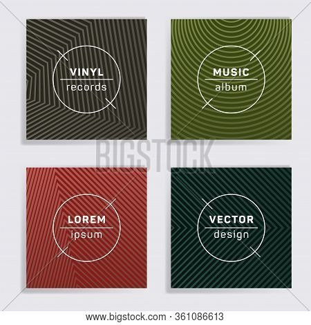 Retro Plate Music Album Covers Collection. Halftone Lines Backgrounds. Minimalistic Plate Music Reco