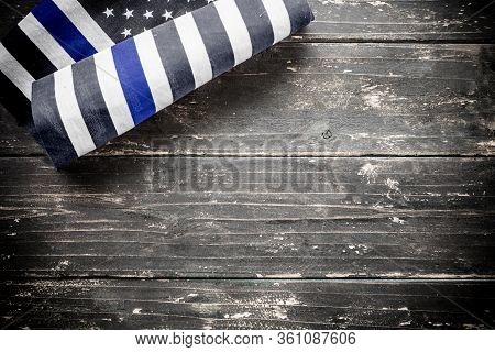 American Police Flag Vintage Wooden Background