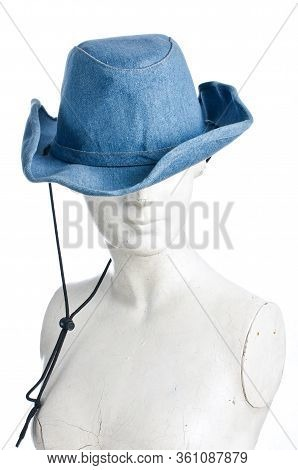 Gypsum With Blue Cowgirl Hat Isolated On The White Background