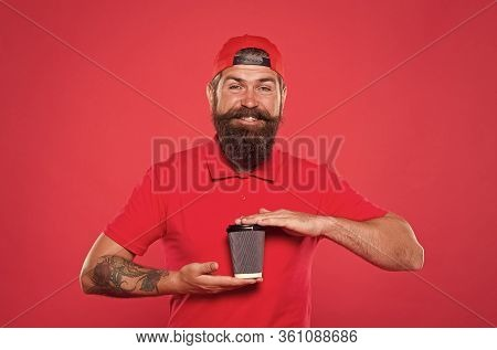Good Morning Coffee To Go. Positive Morning. Bearded Man Drink Tea Red Background. Brutal Hipster In