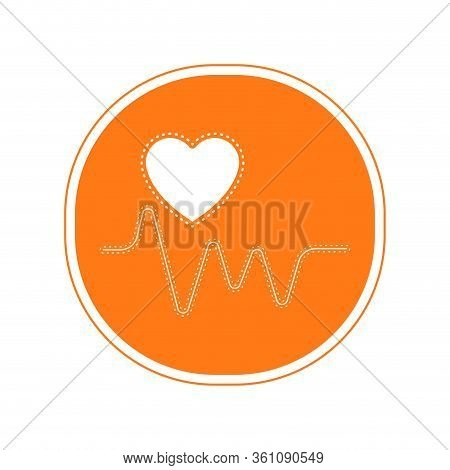 Sticker Of An Electrocardiogram Icon - Vector Illustration