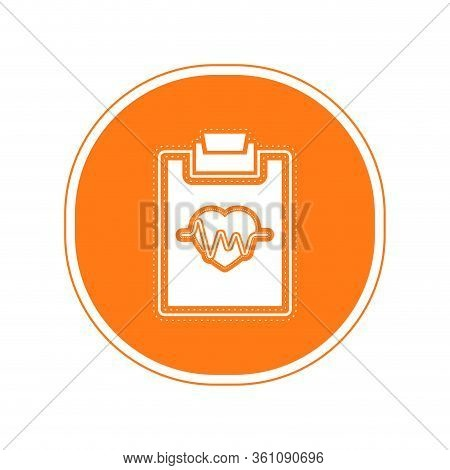 Sticker Of An Electrocardiogram In A Clinical History Icon - Vector Illustration