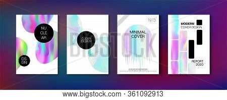 Holographic Gradient Vector Background. Fluorescent Gradient Overlay Holograph Defocused Cover.  Dre