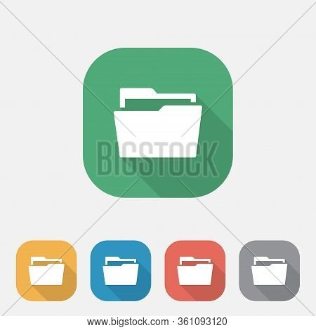 Folder Flat Icon, Folder Colorful Icon Button, Folder Symbol Sign, Simple Logo Illustration For Grap