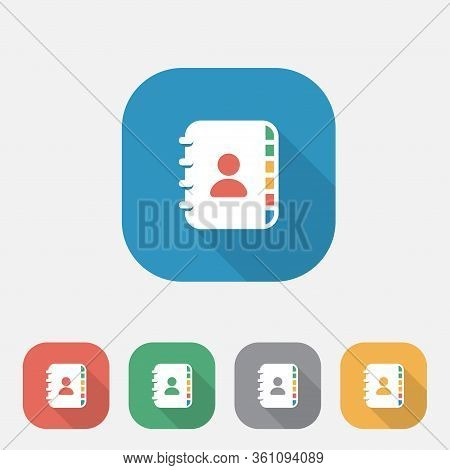 Contact Book Flat Icon, Contact Book Vector Icon, Business, List, Address Book Flat Icon, Eps10