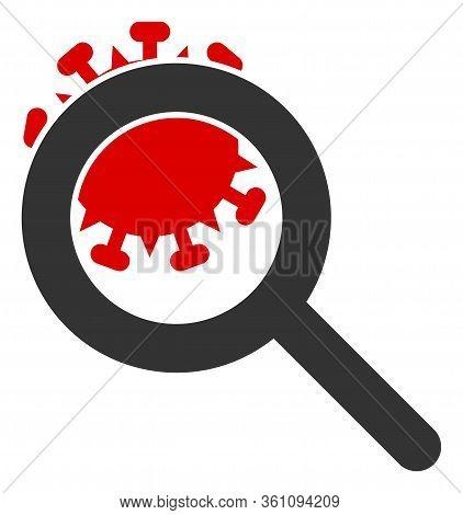 Raster Explore Coronavirus Flat Icon. Raster Pictogram Style Is A Flat Symbol Explore Coronavirus Ic