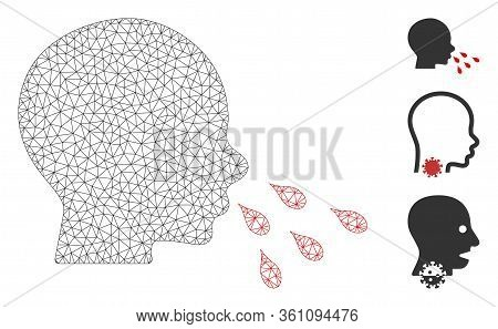 Mesh Sneezing Man Polygonal Icon Vector Illustration. Carcass Model Is Based On Sneezing Man Flat Ic