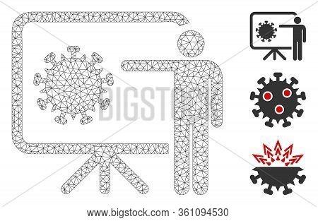 Mesh Coronavirus Lecture Polygonal 2d Vector Illustration. Carcass Model Is Based On Coronavirus Lec
