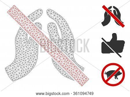 Mesh No Praying Hands Polygonal Icon Vector Illustration. Carcass Model Is Based On No Praying Hands