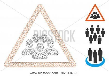 Mesh People Crowd Warning Polygonal Icon Vector Illustration. Carcass Model Is Based On People Crowd