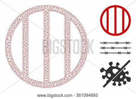 Mesh Jail Grid Polygonal Icon Vector Illustration. Model Is Based On Jail Grid Flat Icon. Triangle M