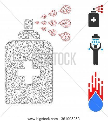 Mesh Sanitizer Spray Polygonal Icon Vector Illustration. Carcass Model Is Based On Sanitizer Spray F