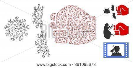 Mesh Coronavirus Fist Strike Polygonal Icon Vector Illustration. Carcass Model Is Based On Coronavir