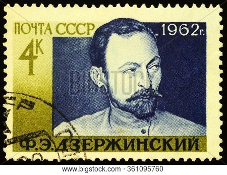 Moscow, Russia - April 13, 2020: Stamp Printed In Ussr (russia), Shows Portrait Of Felix Edmundovich