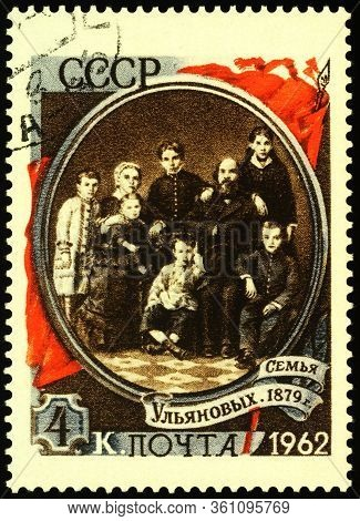 Moscow, Russia - April 14, 2020: Stamp Printed In Ussr (russia), Shows Family Of Vladimir Ilyich Len