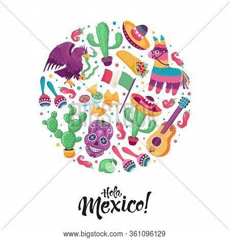 Hola Mexico Greeting Card In Circle Shape. Mexican Culture Attributes Collection. Cinco De Mayo Post