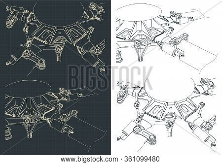 Helicopter Main Rotor Drawings Illustrations