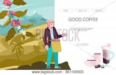 Landing Web Page Template With Male Coffee Farmer Hold Basket With Mature Coffee Beans. Panoramic Co
