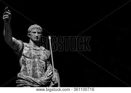 Caesar Augustus, First Emperor Of Ancient Rome And Father Of The Nation. Old Bronze Statue Along The