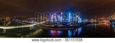Dec 22, 2019 - Chongqing, China: Panoramic Aerial Night View Of Hong Ya Dong Cave By Jialing River