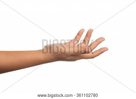 Close Up Open The Palm Of The Hand Isolated On The White Background. The Right Hand Of A Woman Reach