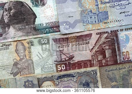 Arab Republic Of Egypt Currency Notes Background. Pounds And Piastres Cash Money Texture. Isolated B