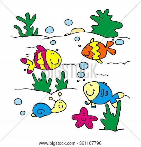 Underwater Life. Aquarium Cartoon Fish Ocean And Sea Animals Vector Background. Illustration Of Unde