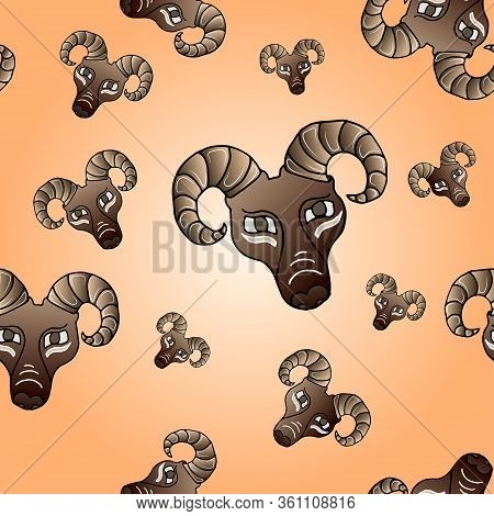 Seamless Pattern With Ram Head Graphic Hand Drawn Vector Cartoon Doodle Illustration, Animal With Cu