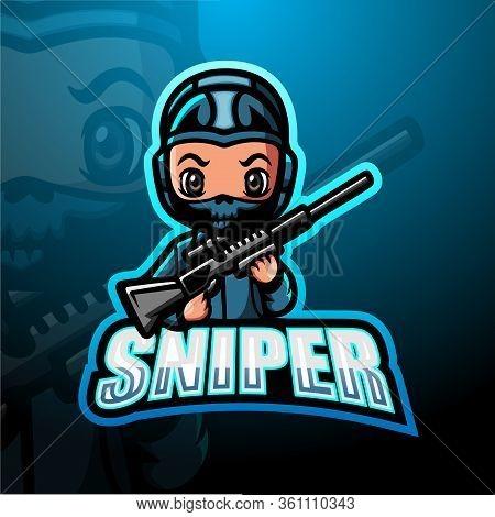 Vector Illustration Of Sniper Mascot Esport Logo Design