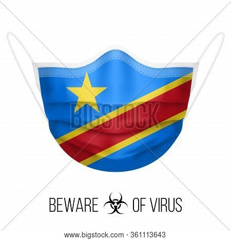Medical Mask With National Flag Of The Democratic Republic Of The Congo. Protective Mask Virus And F