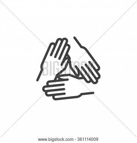 Solidarity, Unity Hands Line Icon. Linear Style Sign For Mobile Concept And Web Design. Three Hands