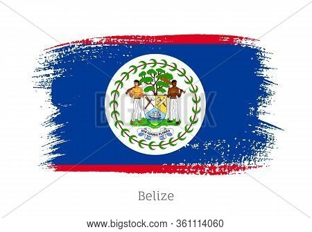 Belize Caribbean Islands Official Flag In Shape Of Paintbrush Stroke. Country National Identity Symb